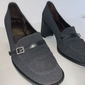 Coach Charcoal Gray Loafer Heels Sz 8